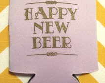 Happy New Beer can coolers, New Years Eve wedding favor, Art deco wedding, great gatsby theme wedding favor can coolies (200 qty)
