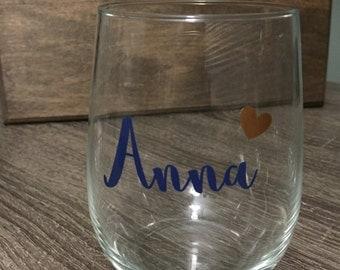 Personalized Wine Glass, Custom Name wine glass with heart