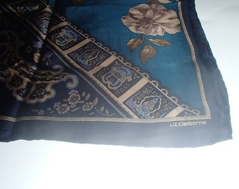 Designer Signed 50% Off Sale VINTAGE SILK SCARF By Liz Claiborne Abstract Flower n Paisley Print Deep Blues and Aqua Green With Gold Trims