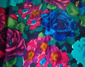 LUCKY13VINTAGE ECHO SILK Scarf in Vibrant Summer Roses Blues Pinks Greens Print