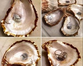 Gold Leaf Oyster Shell Ring Holder/Wedding Party Gift/Oyster Shell Art