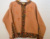 Cozy Jacket in Camel Color with Colorful Crocheted Edging - Sweatshirt Jacket for Women