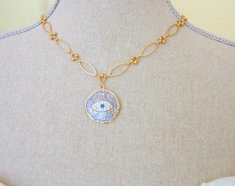Evil Eye Jewelry, Evil Eye Necklace, Good Luck Charm, Link Necklace, Fine Jewelry