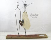 Rustic Bohemian Wire Sculpture Driftwood Mixed Media Art Anniversary Wedding Couple Gift