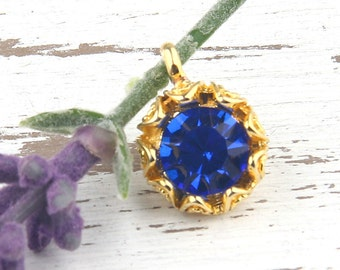 Royal Blue, Crystal Charm Pendant with Floral Backed Bezel Setting, 22k Shiny Gold Plated,1 piece // GP-454