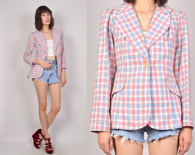 70's Plaid Blazer Jacket Spring Lightweight