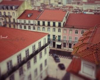Lisbon rooftops, Portugal. Original Fine Art Street Photography. Lisboa tile Roof, architecture cityscape