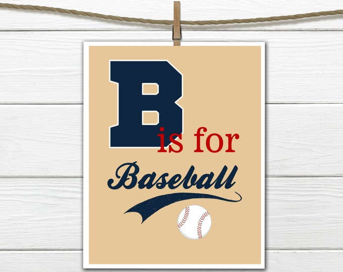 Baseball Print - Baseball Nursery Decor - Choose Size and Colors