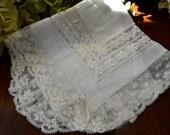 Victorian Linen Wedding Handkerchief, Light Ivory, Lace 3442