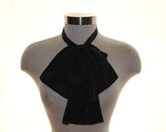 Women's Black Scarf, Vintage Neckwear, Women's Vintage Necktie, Vintage Scarf, Black Bow, Women's Bowtie