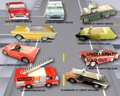 Lot of 6 Classic & Modern Truck Food Boxes Combo Food Trays-Tailgate Food Boxes-Vintage Party Paper Food Tray- Cute Kids Paper Car Favor Box