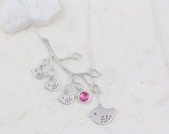 FamilyNecklace - Sterling silver Family  Bird Necklace- Mommy Mama Bird and Babies, Mother Gift ideas, Birds necklace, Anniversary Gift