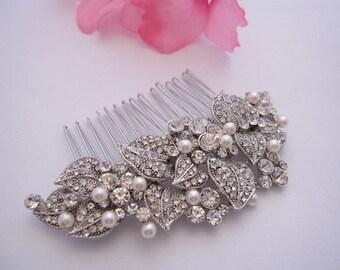 Vintage inspired Bridal hair comb pearl,Bridal Hair comb Rhinestone,Silver hair comb,Swarovski pearl hair comb,Wedding decorative combs,Comb