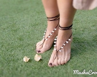 Tribal barefoot sandal, White black beaded crochet barefoot sandles, Sexy foot thong, Summer foot accessories, limited edition