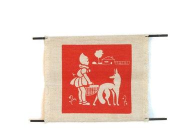 Fairytale Wall Art - Linen Print - Fairytale Silk Screen - Red Riding Hood Wall Art - Retro Children's Art - Free Shipping - 3PTT16