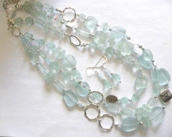 Sea foam glass necklace - 3 strand necklace, layered necklace, beach necklace set, triple strand necklace, faux sea glasd