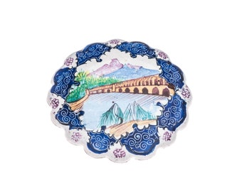 Persian Enamel Mina Caree Brooch Vintage Silver