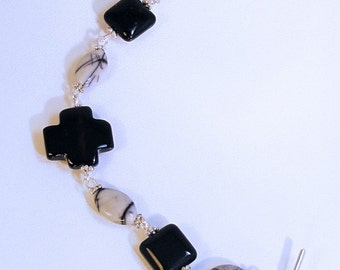 NIGHT JASPER & ONYX Cross Bracelet