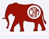 Alabama elephant iron on decal monogram with initials