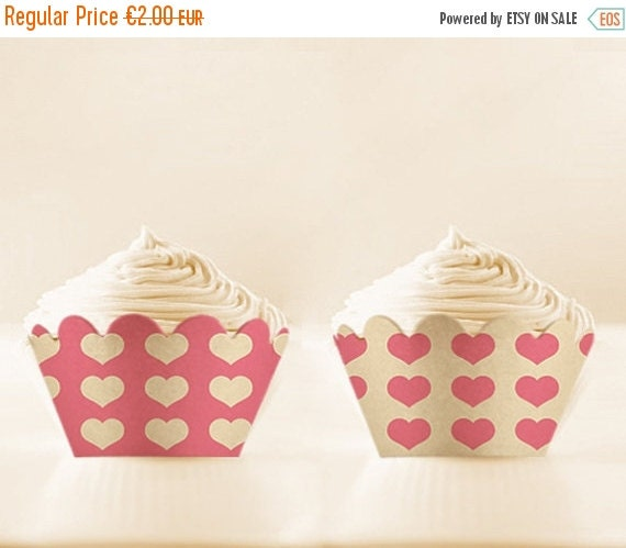 80% off Hearts Cupcake Wrappers to Print Pink Cupcake Holders Digital Download 12/15