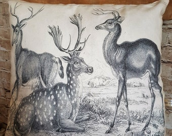 FREE UK POSTAGE Handmade Square Deer Stags Pencil Drawing Cushion Pillow With Or Without Inner