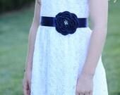 Flower Girl Navy Blue Sash
