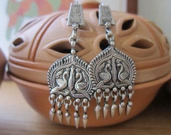 Two regal peacocks- Pure silver earrings