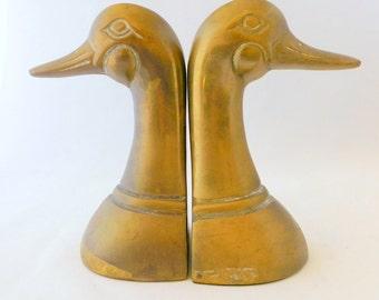 Brass Duck Bookends, Brass Mallard Bookends