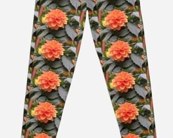 Orange Delight Flower Leggings XXS-XL