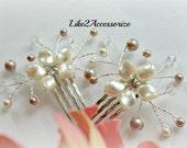 Small Bridal Hair Comb Bridal Headpiece Wedding Pearl Gold Hair Comb Wedding Hair Accessory Swarovski Pearl Ivory Champagne Pearl Hair Comb
