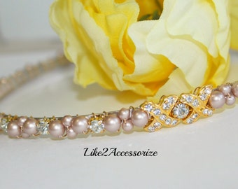 Pearl Bridal Tiara Headband Wedding Hair Piece Bridal Head Piece Rhinestones Pearl Wedding Headband Swarovski Pearl Headband Champagne Tiara