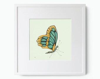 Green and Ochre Butterfly Giclee Art Print