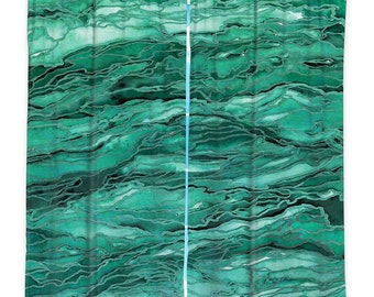 EMERALD GREEN Marble Art Window Curtains, Multiple Sizes Abstract Colorful Agate Waves Home Decor Bedroom Kitchen Lined Unlined Woven Fabric