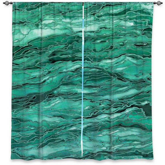 Emerald Green Marble : Emerald green marble art window curtains multiple by