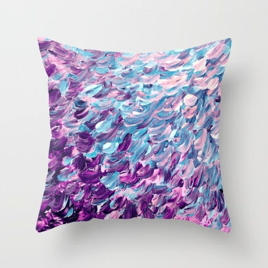 Blue And Lavender Throw Pillows : FROSTED FEATHERS Purple Blue Ombre Splash Waves Painting Art