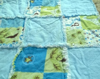 Baby/toddler rag quilt-boy-snuggle flannel
