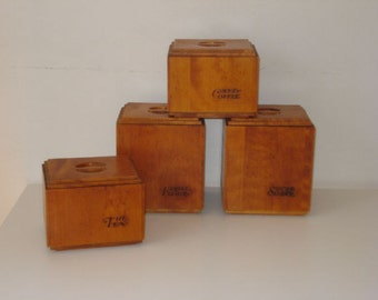 Vintage Baribomaid Maple Wood Kitchen Canisters - Baribocraft - Set of 4