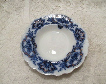 Flow blue soup bowl WH Grindley blue and white china dining tableware
