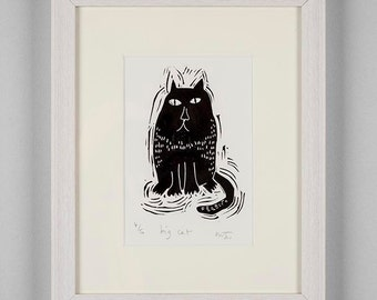 Big Cat - linocut print