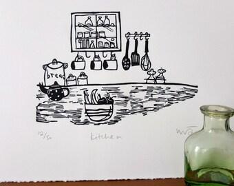 Kitchen - lino print