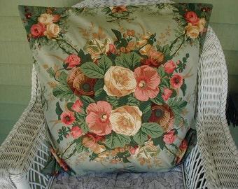 Floral Print Pillow Cover, Pillow Sham,  Euro Size, Lt Robin's Egg Blue Ground, Designer Fabric, Cottage Chic