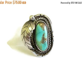 ON SALE Navajo Turquoise Sterling Silver Feather Ring, SZ 5.5 Southwestern Boho