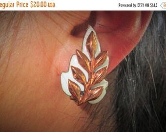 ON SALE Matisse Renoir Copper Leaf Earrings, White Enamel and Copper, Mid Century Modern Jewelry, Signed Designer, 1950s Retro