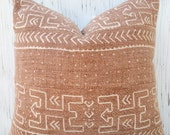 Faded rust authentic mudcloth pillow cover