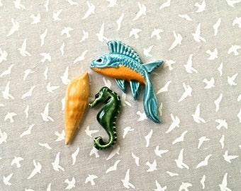 Gorgeous Fish a Seahorse & a Shell - Ceramic Tiles