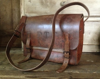French Leather Messenger Postal Bag, Satchel, Telegraph La Poste, PTT, Chestnut Brown, Messenger Briefcase