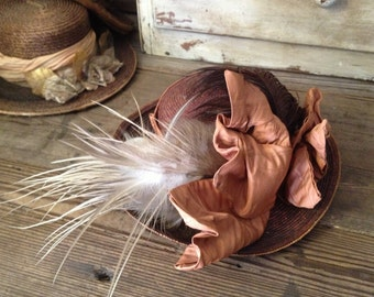 Victorian Straw Hat Feathers Silk Satin Bows Downtown Abbey Style!