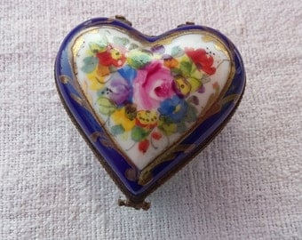French Porcelain Trinket Box, Le Tallec A Paris, Antique Hand Enameled Heart Blue Floral, Hallmarked Signed, Purchased by Tiffany and Co