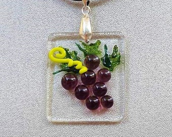 Wine Grapes Fused Glass Pendant and Leather Necklace