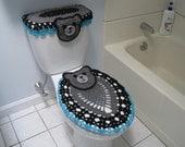 Custom Order - Set of Bear Toilet Tank Lid and Toilet Seat Covers - true grey/soft grey/black/medium purple/cool blue (BTTLTSC1C)